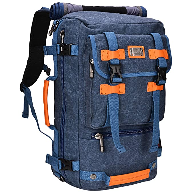 Canvas Backpack WITZMAN Vintage Travel Backpack Hiking Luggage Rucksack Laptop Bags AB2020 (20 inch blue) best travel backpack