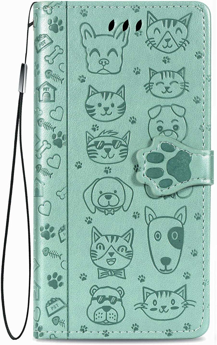 Fertuo Funda para Xiaomi Redmi Note 10 5G / Poco M3 Pro, Carcasa Libro con Tapa de Cuero con Ranuras de Tarjeta, Cierre Magnético [Gato Perro] Wallet Case Flip Cover para Poco M3 Pro, Verde