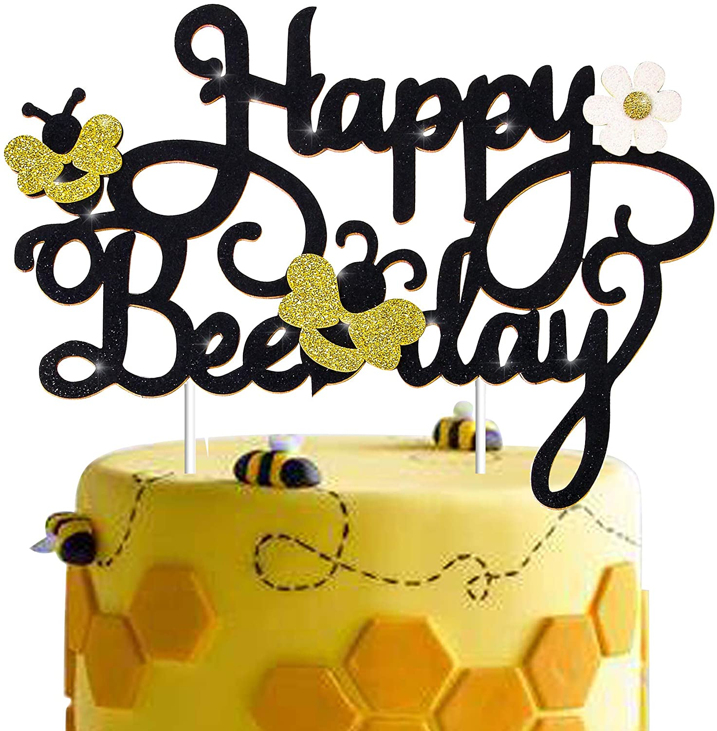 Bee Themed Birthday Party Cake Topper Decoration for Bee Bumble Themed Happy 1st 2nd Birthday Party Gender Reveal Party Baby Shower Glitter Honey Bumble Bee Cake Topper Photo Booth Prop Supplies