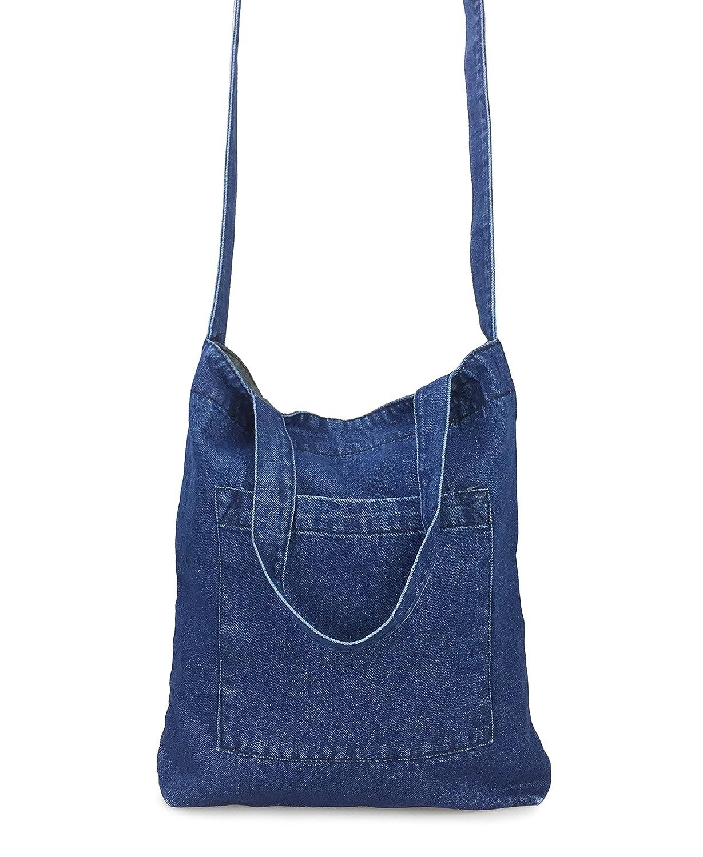 78e0069e7618 Amazon.com  Hoxis Multifunction Pocket Soft Denim Shoulder Handbag Women  Shopper Purse (Blue)  Shoes