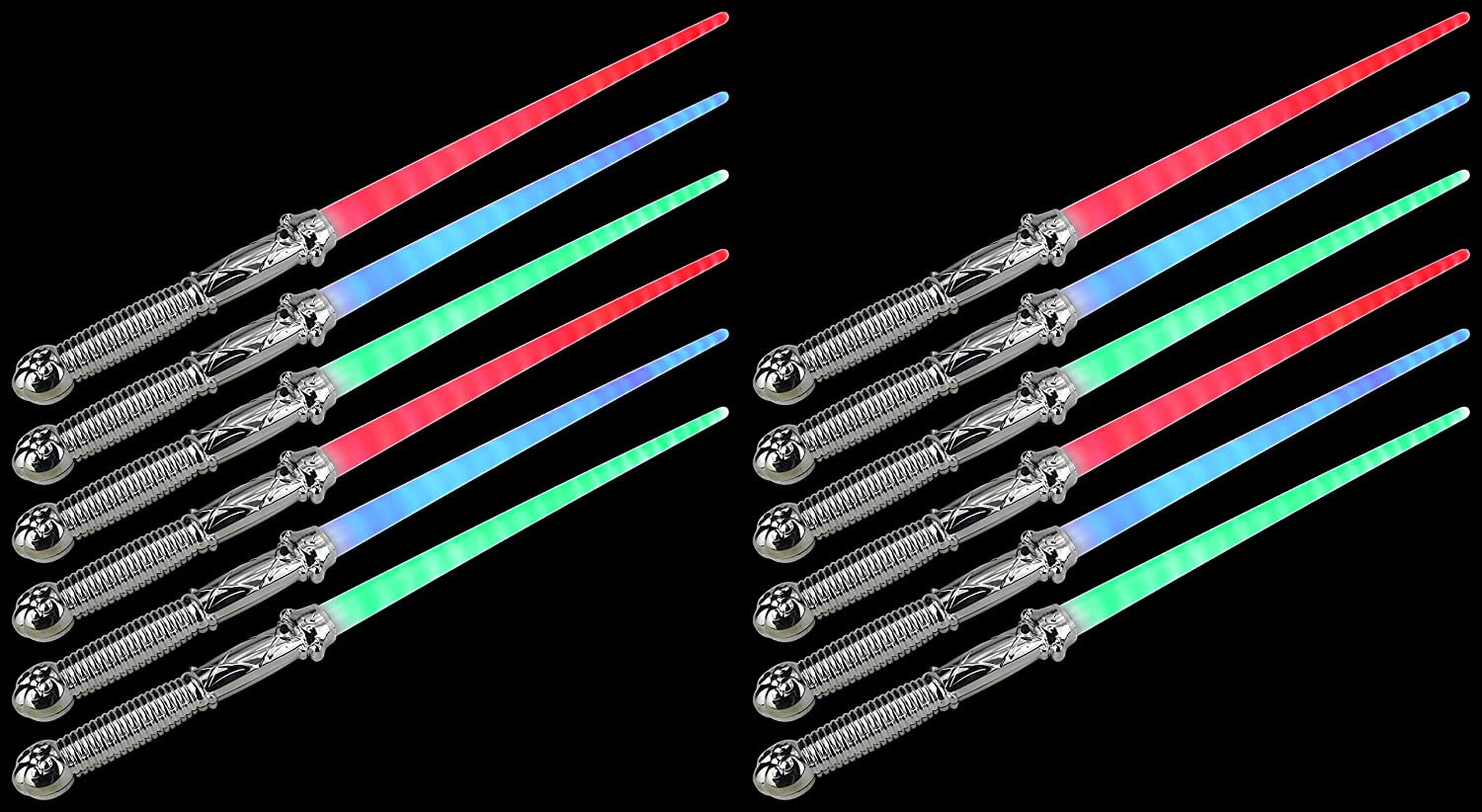Set Of 12 Vt Solid Chrome Star Led Light Up Party Favor Toy Amazoncom Science Wiz Cool Circuits Toys Games Sword Sabers