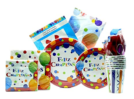 Amazon.com: Feliz Cumpleaños 9 pc Birthday Bundle (Serves 8 ...