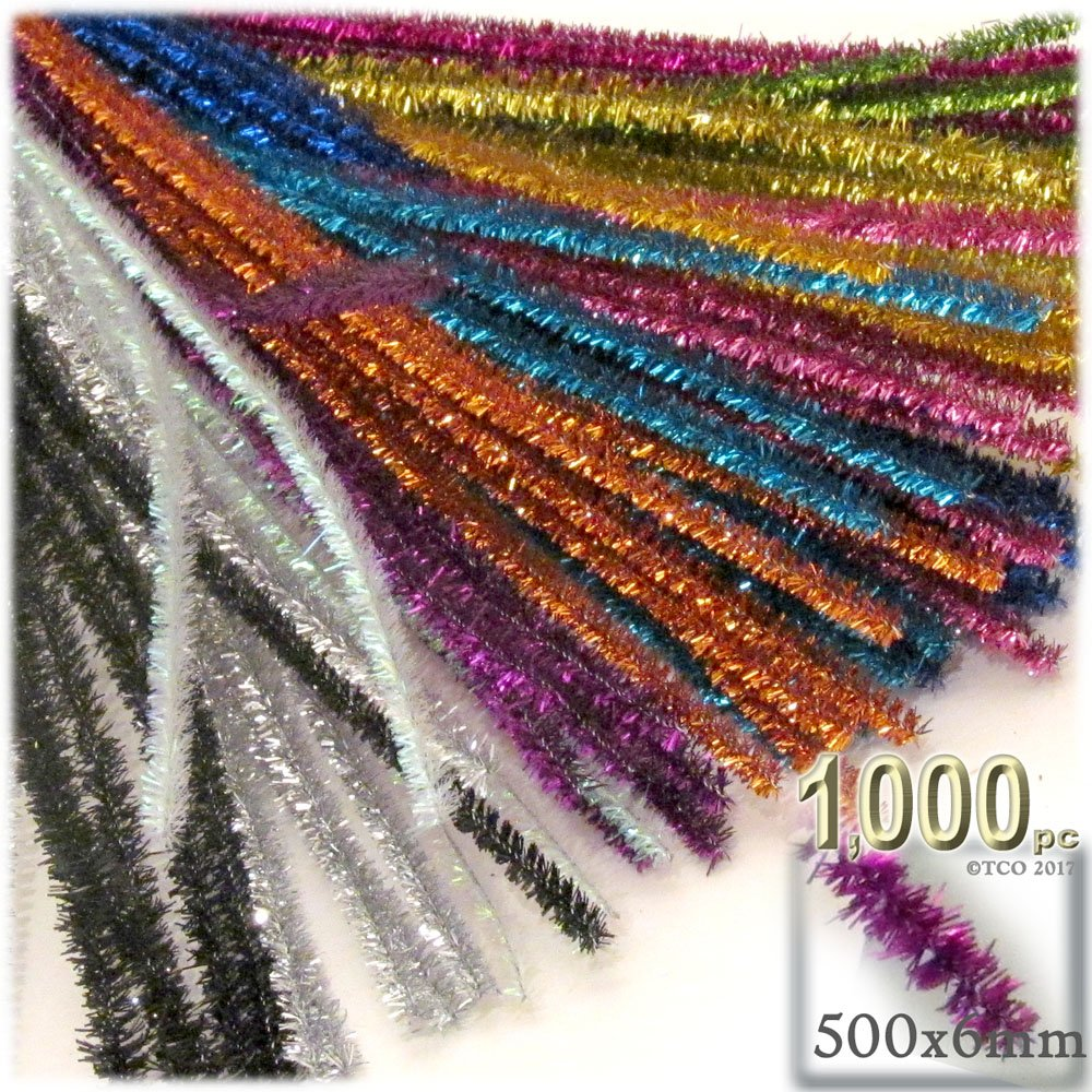 The Crafts Outlet Chenille Sparkly Stems, Pipe Cleaner, 20-in (50-cm), 1000-pc, Mixed Pack