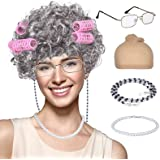 Old Lady Wig, Granny Cosplay Wig with Hair Rollers for Halloween Costume Dress Up Party