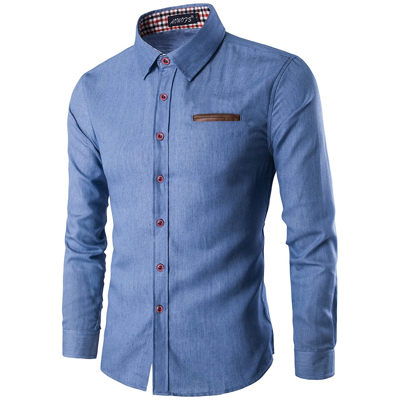 WSLCN Men's Chic Shirt Denim Botton Down Shirt Long Sleeves AW-N13