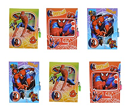 Asera 6 Pcs Spiderman Lock Diary For Boys Gifts Options Small Size 16513
