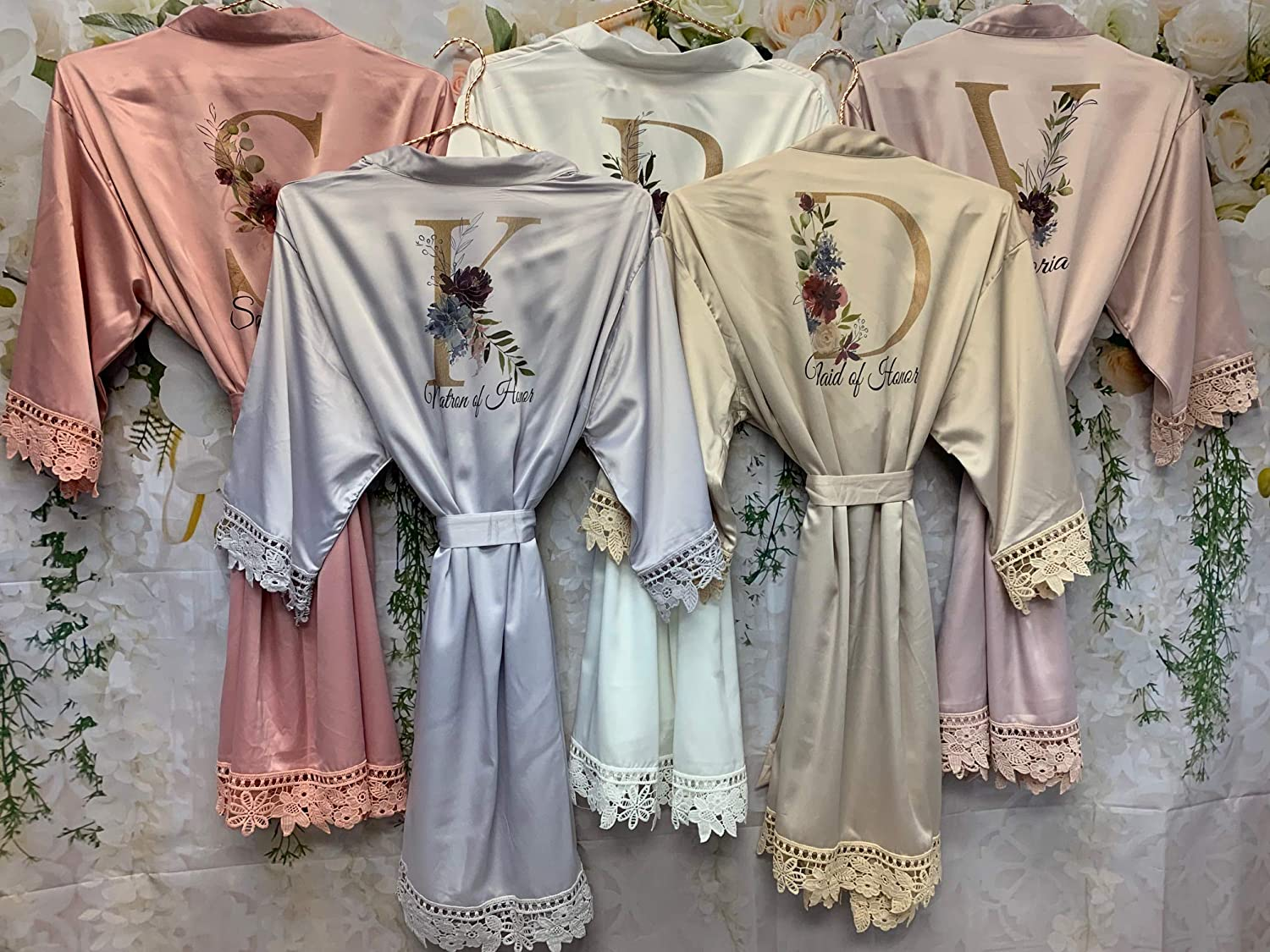 Silk Bridesmaid Robes Lace Bridal Gown Wedding Gift