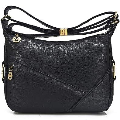 4d0f6b9ae YouNuo Womens Fashion Genuine Leather Purse Adjustable Strap Medium Size  Multi Pockets Shoulder Bag