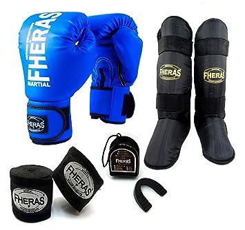 81b9f2f20 Kit Boxe Muay Thai - Luva + Bandagem + Bucal + Caneleira - Azul - Fheras