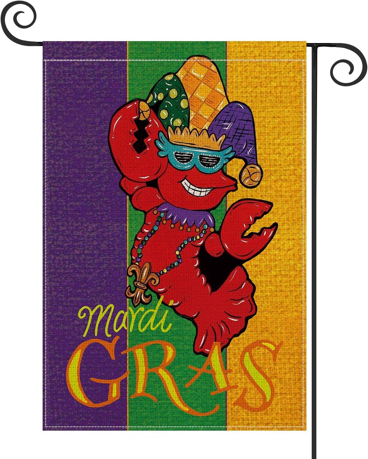 AVOIN Mardi Gras Crawfish Masquerade Mask Fleur de Lis Garden Flag Vertical Double Sized, Holiday Party Mardi Gras Bead Yard Outdoor Decoration 12.5 x 18 Inch