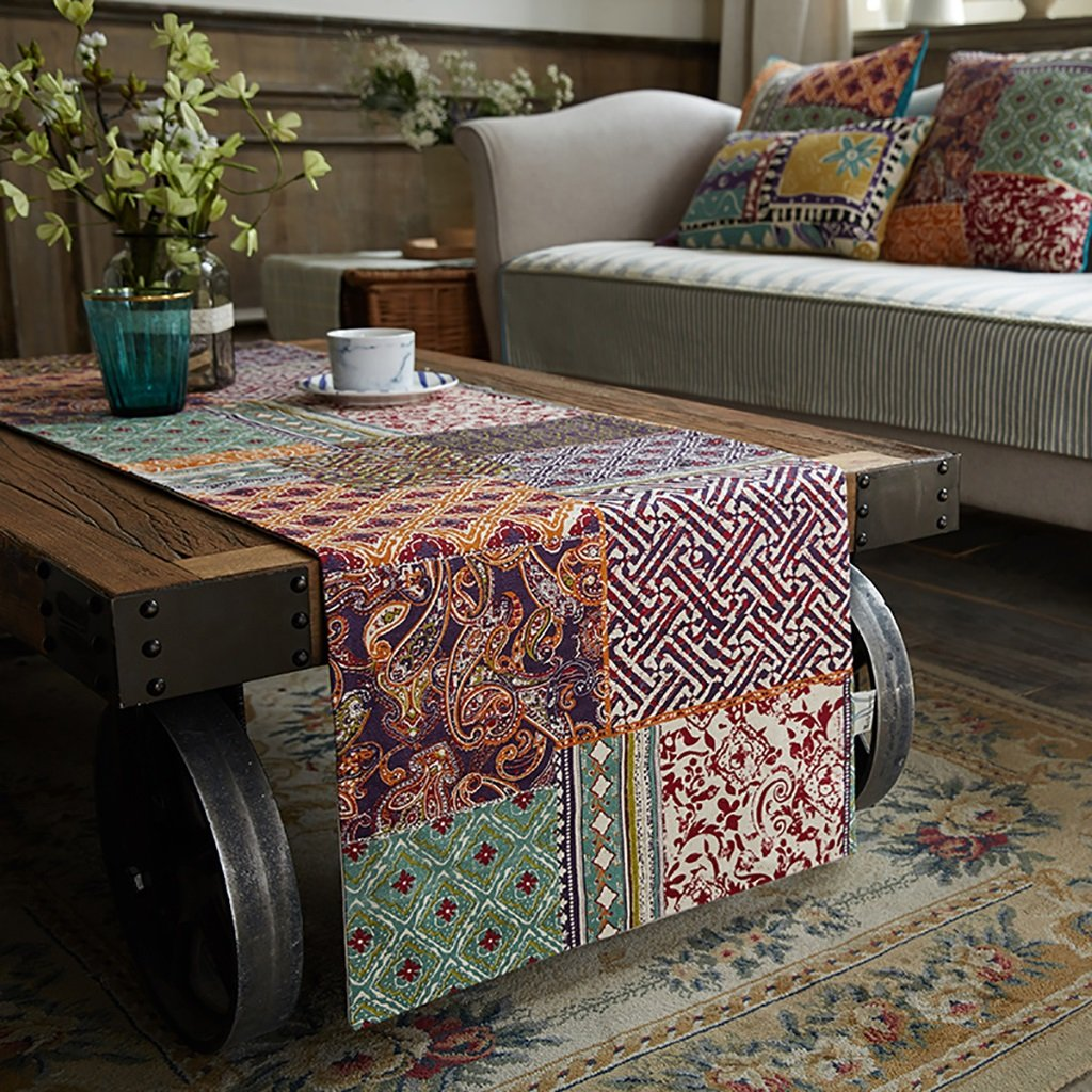 Super Kh® テーブルランナーボヘミアスタイルのテレビキャビネットのダイニングテーブルベッドルームのお茶のテーブルの装飾ベッドの旗 (色 : A, サイズ さいず : 45*180cm) 45*180cm A B07L584CD5