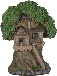 """Exhart Thatched Roof Tree House with Ladder Garden Statue, Fairy Cottage, Resin, Solar Powered, 10"""" L x 8"""" W x 12"""" H"""
