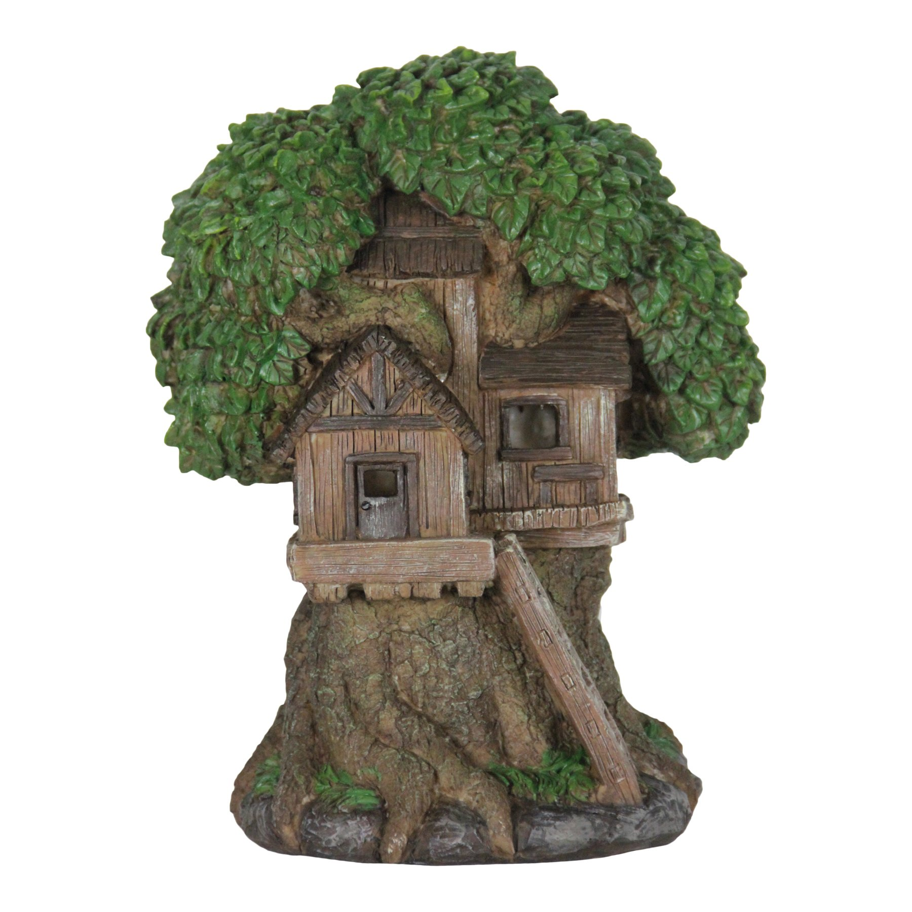 Exhart Thatched Roof Tree House w/Ladder Garden Decor - Fairy Cottage Garden Statue with Solar Powered Lights, Mini Tree House Resin Statue for a Magical Fairy Garden, 9'' L x 7'' W x 12'' H