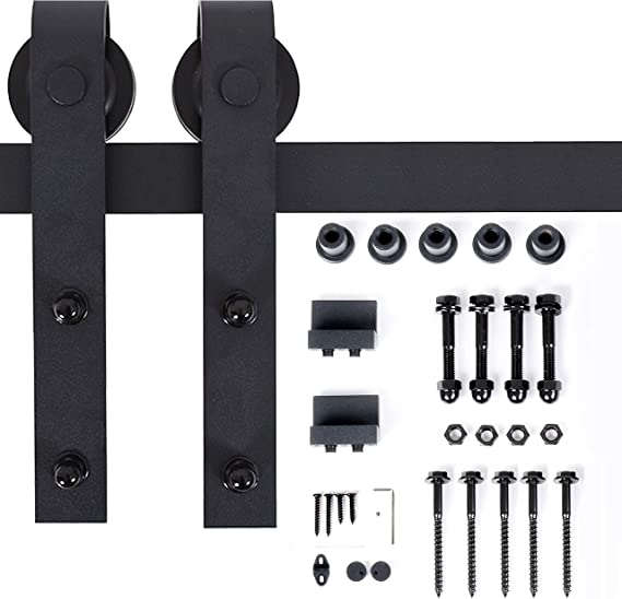 "Amazon.com: TE DEUM 8ft Heavy Duty Sturdy Sliding Barn Door Hardware Kit - Smoothly and Quietly -Easy to Install -Includes Step by Step Installation Instruction-Fit 42""-48""Wide Door Panel (J Shape): Home Improvement"