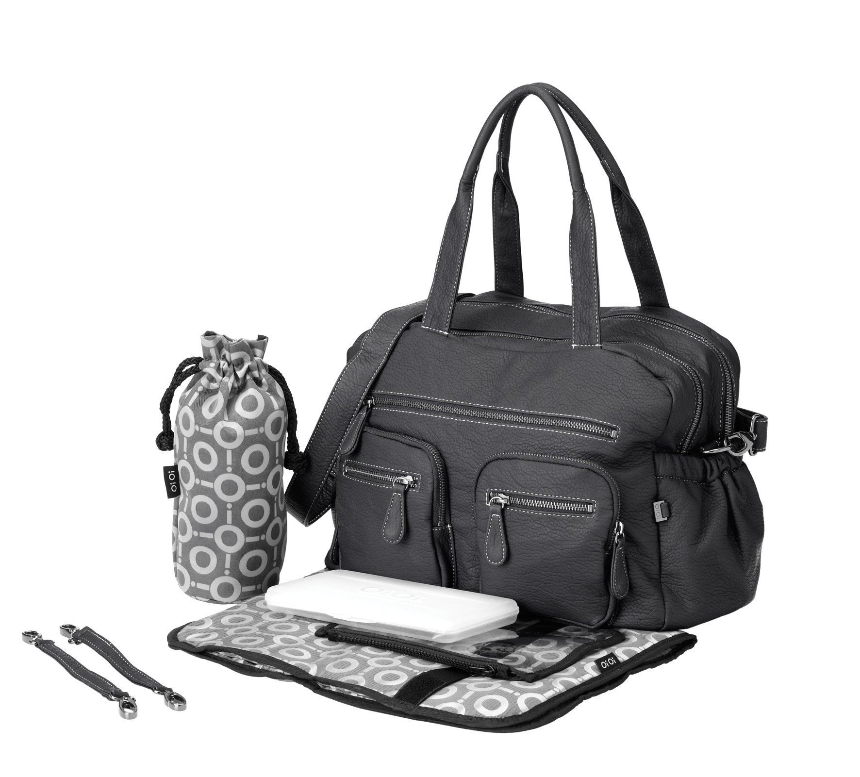 OiOi Faux Buffalo Carryall Diaper Bag, Charcoal by OiOi