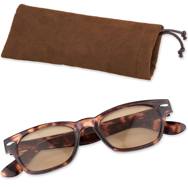Klassische Lesebrille Lesehilfe mit getönten Gläsern und Brillenetui von + 1,00 bis + 3,00 Dioptrien Cadenis