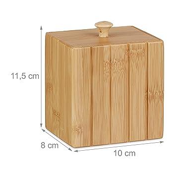 Relaxdays Caja Pequeña con Tapa, bambú, Beige, 11.5 x 10 x 8 cm: Amazon.es: Hogar