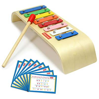 Kidzlane My First Xylophone for Kids | 8 Song Learning Cards, Rubber Tip Mallet, Wooden Base Ages 18M+: Toys & Games