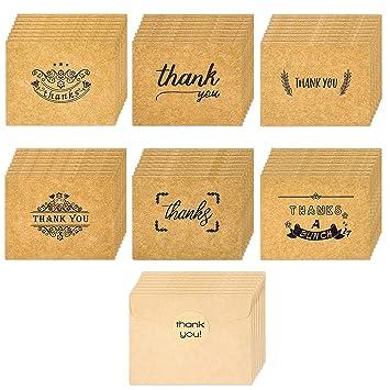 Amazon.com: Paquete de 48 tarjetas de agradecimiento de 2,7 ...