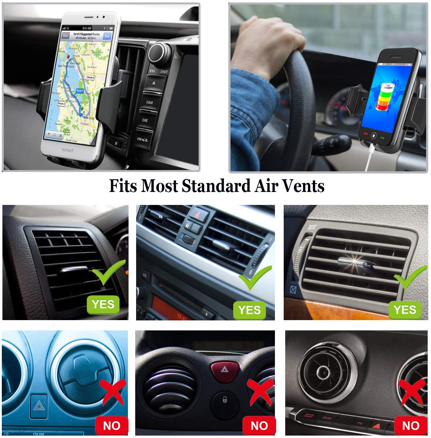 Google,LG,Nexus,Sony,Huawei,Nokia and More,Black Car Cell Phone Mount,Universal Air Vent Car Phone Holder Compatible with iPhone Xs Max//XS//XR//X//8//8Plus//7//7Plus//6s//6Plus//5S,Samsung,Galaxy S6 S7 S8 S9