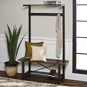 Walker Edison Furniture Mid Century Entryway Bench Hall Tree Storage Shelf Coat Rack, 72 Inch, Walnut Brown