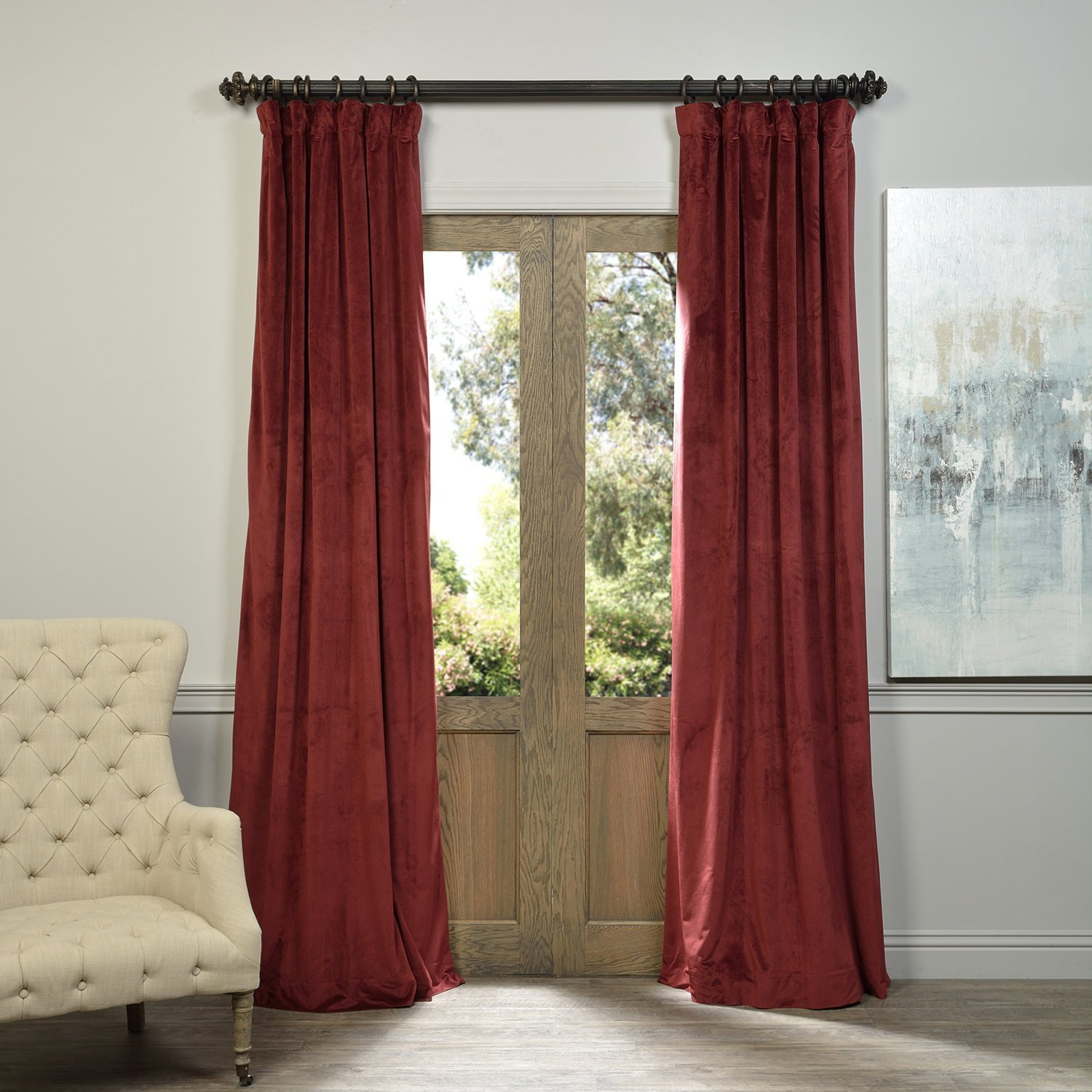 """120"""" W x 84"""" L (set of 2 Panels) Pinch Pleat 90% Beige Lining Blackout Velvet Solid Curtain Thermal Insulated Patio Door Curtain Panel Drape For Traverse Rod and Track, Burgundy Curtain"""