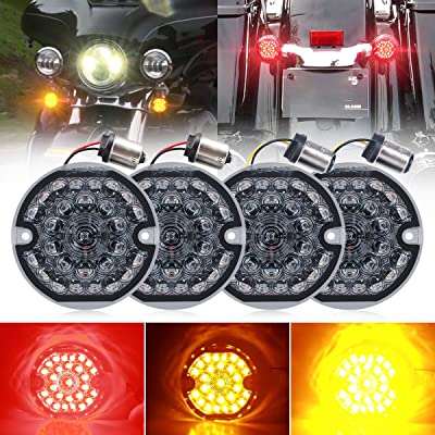 3-1/4 Inch LED Turn Signal Kit for Harley Flat Smoke Lens 1157 Double Base Amber Front Turn Signal Bulbs + 1156 Single Connector Red Rear Turn Signal Lights for Harley Motorcycle Road Glide Road King: Automotive