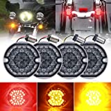 3-1/4 Inch LED Turn Signal Kit Flat Smoke Lens 1157 Double Base Amber Front Turn Signal Bulbs + 1156 Single Connector Red Rea