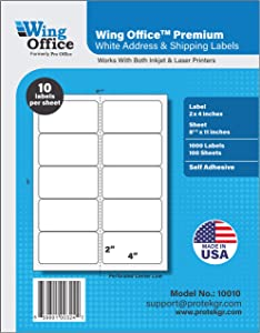 Pro Office Premium 1000 Self Adhesive Shipping Labels for Laser Printers and Ink Jet Printers, White, Made in USA, 2 x 4 Inches, Pack of 1000, Same Size As 8163 and More