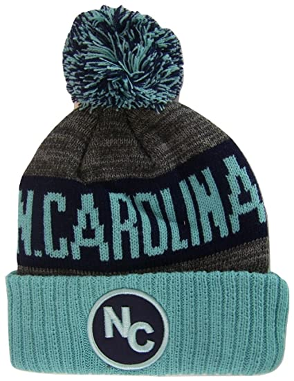 8404e468328 BVE Sports Novelties North Carolina NC Patch Ribbed Cuff Knit Winter Hat  Pom Beanie (Teal Navy Blue) at Amazon Men s Clothing store