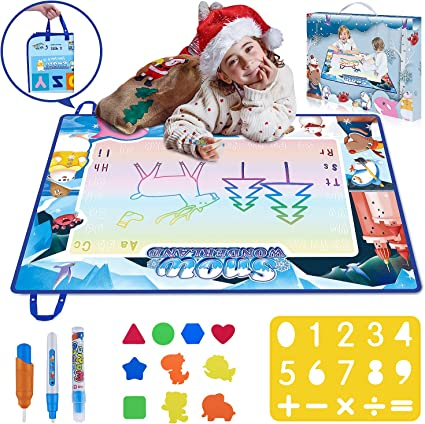 Toy Gift NEW Large Water Drawing Mat Mess Free Doodle Mat Girls Boys Age 2-5