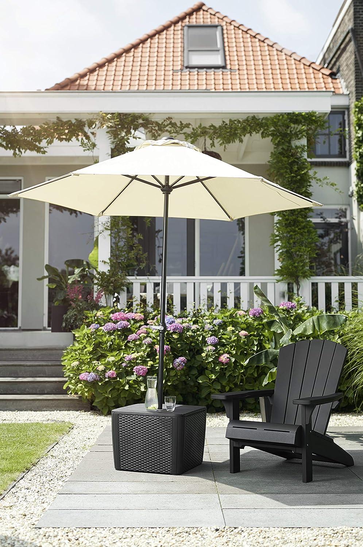 Allibert Patio Umbrella Tisch (Flache Rattanoptik) Mesa Auxiliar ...