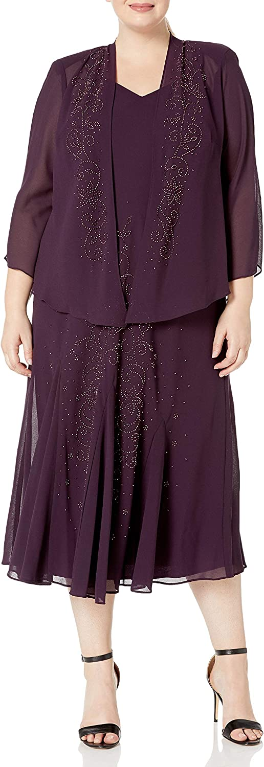 R&M Richards Women's Plus Size Beaded Chiffon Jacket Dress