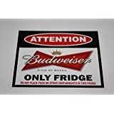 """Attention Budweiser Beer Fridge Decal SIZE: 4.35x3,5"""" (11x8,8cm) sticker perfect gift"""