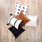 Two Queens Lane Boho Throw Pillow Covers and Cases, Set of 5, 20 x 20 Inch, for Couch, Sofa, or Bed, Geometric, Modern…