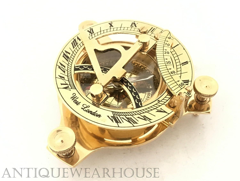 ハンドメイド真鍮製日時計コンパスMaritime CollectibleナビゲーションNautical Westロンドンコンパス B073Y65VW7