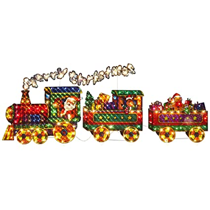 lighted merry christmas train yard art outdoor holiday decoration - Christmas Train Yard Decoration
