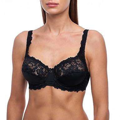 c942ccdb44b frugue Women s Minimizer Plus Size Sheer Lace Unlined Bra Black 34 DDD E