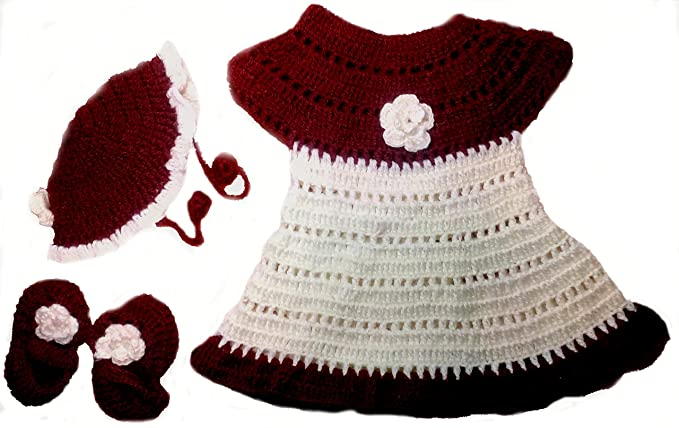 4561ac6fd BabyBlossom Baby Girls Woolen Handmade Party Wear Frock with Cap and ...