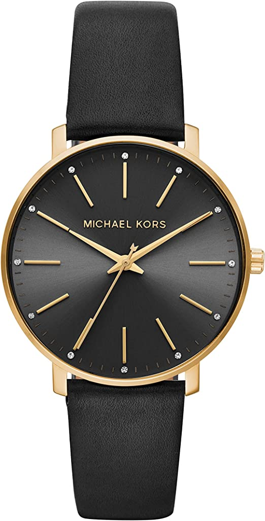 Amazon.com: Michael Kors Women's Pyper Stainless Steel Quartz Watch with  Leather Strap, Gold/Black, 18: Watches