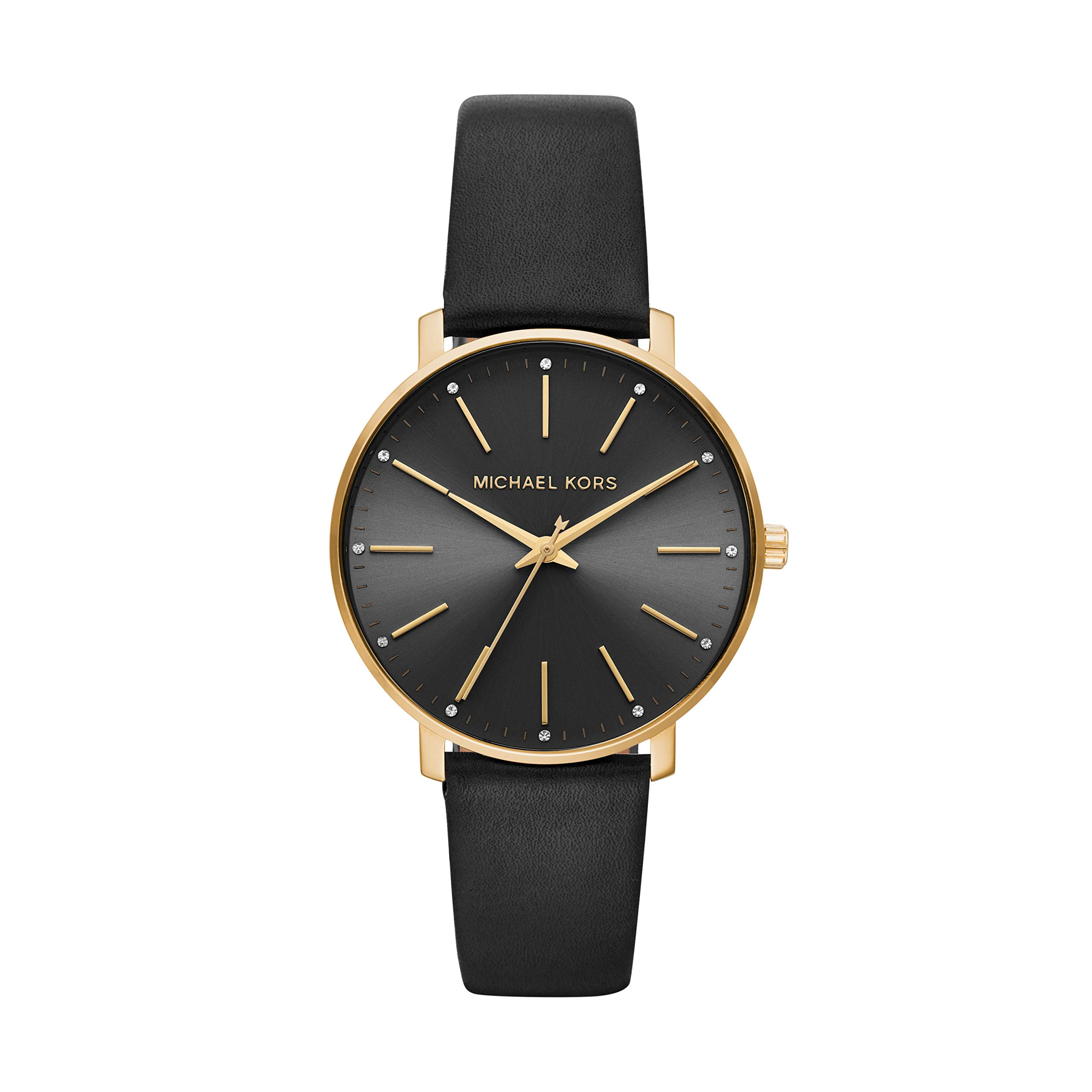 Michael Kors Women's Pyper Stainless Steel Quartz Watch with Leather Strap, Gold/Black, 18 by Michael Kors