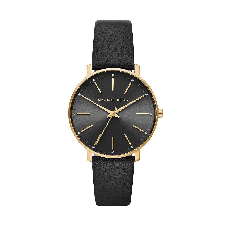 32159ebe0b5a83 Amazon.com: Michael Kors Women's Pyper Stainless Steel Quartz Watch with Leather  Strap, Gold/Black, 18: Michael Kors: Watches