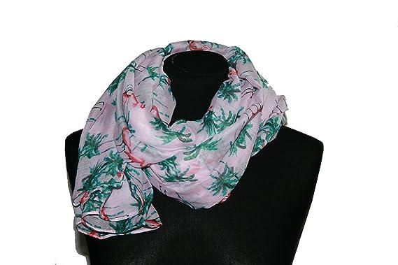 Écharpe, foulard atmosphere fine avec palmiers motif flamant rose ... ffbb158eeb1