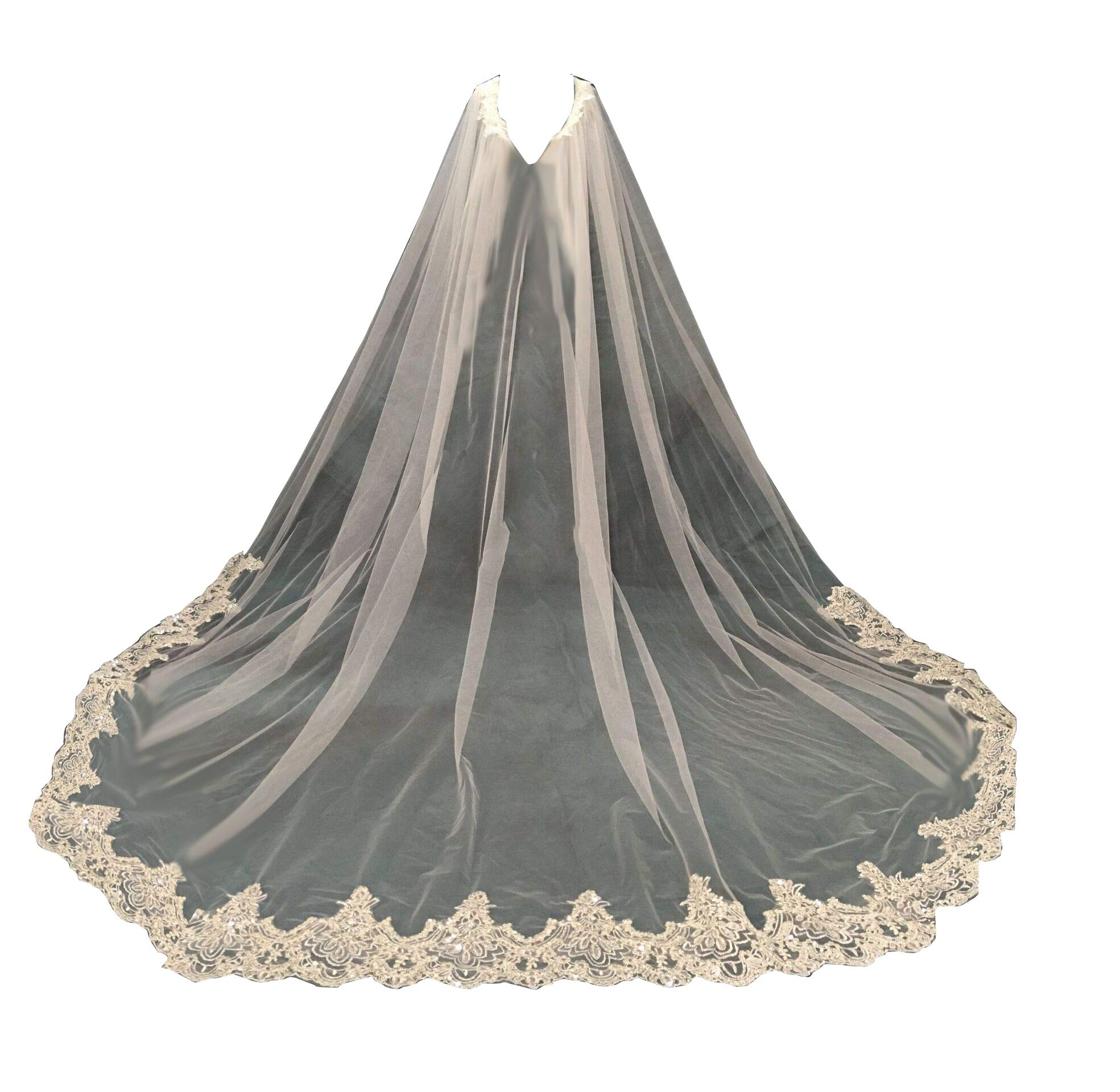 Wedding Capes Lace Bridal Veils Appliques Bridal Wraps Cathedral Length Wedding Cloak (3 meters, ivory-style2)