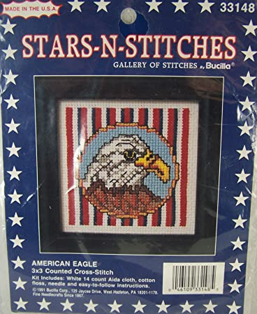 Amazon Bucilla American Eagle Counted Cross Stitch Kit Stars N