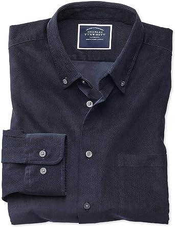 Camisa Azul Marino de Pana Fina Slim fit Lisa: Amazon.es ...
