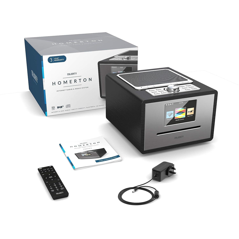Majority Homerton Radio por Internet Wi-Fi - Reproductor de CD, Control Remoto, Dab/Dab+ /FM Digital, Bluetooth, Alarma Doble, Entrada AUX y USB, ...
