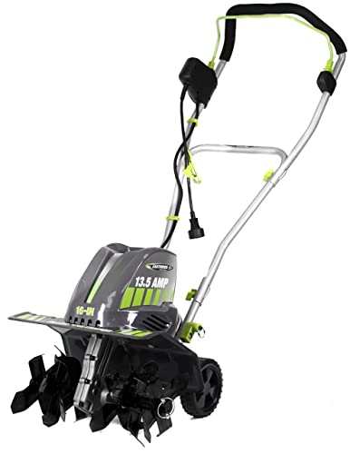 Earthwise TC70016 16-Inch 13.5-Amp Corded Electric Tiller Cultivator, 16-Inch, 13.5-Amp Corded, Grey