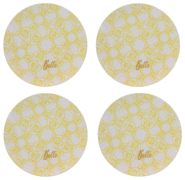 "Belle Large Plate Set, Includes 4 Plates – Premium Dishware Food, Meals and Snacks – A Disney Novelty Mealtime Gift Ceramic, Measures 10.25"" Diameter"