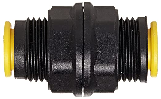 Inline Bulkhead Union Legris 3116 60 00 Nylon /& Nickel-Plated Brass Push-to-Connect Fitting 3//8 Tube OD